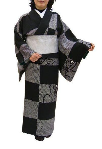 リメイクパッチワーク加工した市松模様の着物